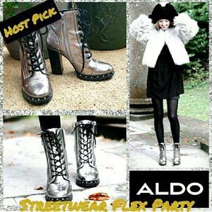 Aldo Isidro  Silver Metallic Ankle Boots